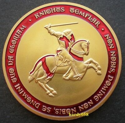 Freemasons Masonic Templars Knights red Cross glazed Gold Plated coin 1 oz