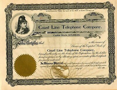 1900 Coast Line Telephone Co  Charleston Sc Unissued Stock Certificate 10 X 8