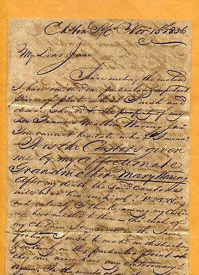 1836 Will Frank M Waring Berkley Co Charleston Sc  Additional Info To His Wife