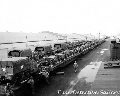 WWII Military Trucks & Jeeps on Railcars - 1944 - Historic Photo Print