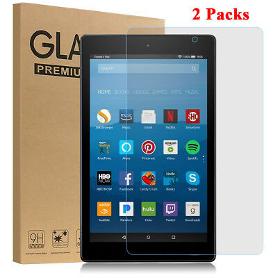 Tempered Glass Screen Protector Film for Amazon Fire HD 8 Tablet 2017 [2 Pack]