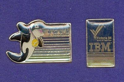 2 Different IBM Computers Commonwealth Games Lapel Pins Orca Killer Whale Mascot