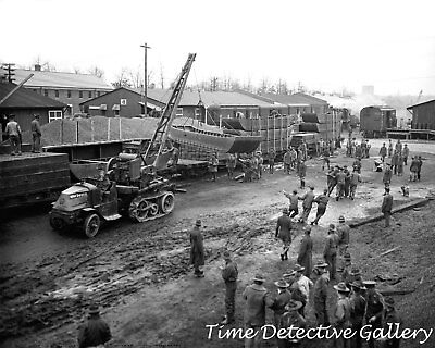 U.S. Troops Loading Boats on a Train - WWII - 1941 - Historic Photo Print