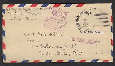 US Free Airmail Army Air Force CDS March 1955 Pointing Finger Return to Writer