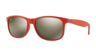 b9ff1ca9b6f24 Ray Ban Sunglasses RB4202 6155 5A Andy Matte Red Frame Brown Mirror Lens  55MM