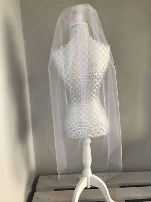 White or Ivory Bridal Wedding Veil Tulle Pearls or Swarovski Diamante Fingertip