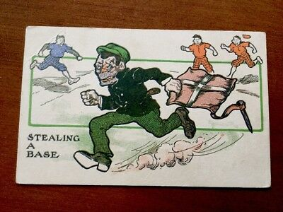 "1910 Baseball Theme Postcard ""Stealing A Base"""