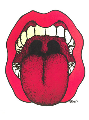 Mouth and Tongue Vintage 1971 Roach Iron On Heat Transfer not Rolling Stones Hat