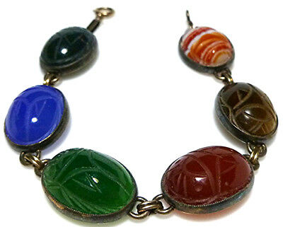 """Sterling Silver Gold Filled Gf Carved Stone Scarab Cable Chain Bracelet 7.5"""""""