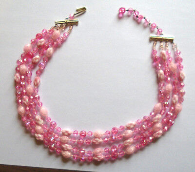 Four Strand Pink & White AB Crystals Necklace W. Germany 15 in.
