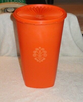 Tall Orange Tupperware 16 Cup Servalier Storage Canister #1222