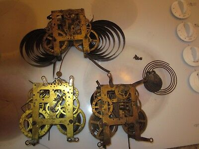3 antique clock movement lot Ingraham Sessions Gilbert  #802
