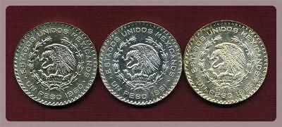 LOT of Three (3) MEXICO 1 PESO SILVER COINS.  1960, 61, 65. Unc/BU. Some toning