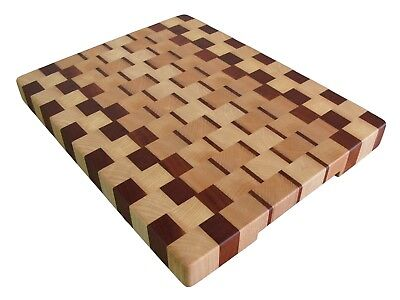 Handmade, Cutting Board End Grain with Feet, Kitchen, Chopping Board, Ash Sapele