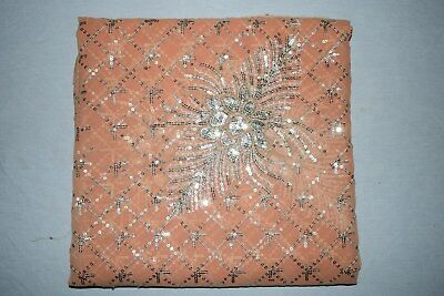 Floral Dgn Indian Wedding Dupatta Scarf Golden Sequins Embroidery Georgette Veil