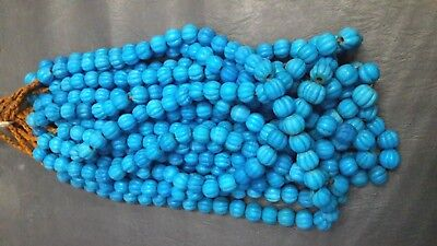 Roman Glass Beaded Necklaces 12m Old Fluted Round Melon Shape Turquoise Mosaic