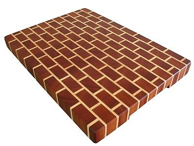 Exotic Wood, Brick, Thick Cutting Board End Grain with Feet, Butcher Block, Gift