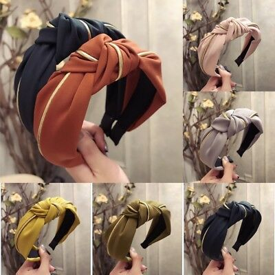 AU Women Headband Twist Hairband Bow Knot Cross Tie Wide Headwear Hair Band Hoop