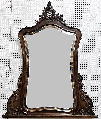 Antique Country  French Walnut Louis XV Hand Carved Beveled Mirror Circa 1870