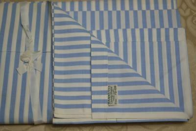 Vintage NOS WAMSUTTA SUPERCALE Blue CANDY STRIPE Sheet 73 x 108 Hemstitched