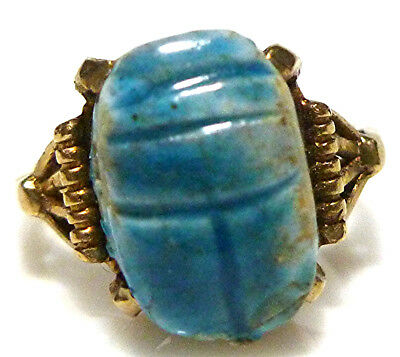 Antique Egyptian Revival Blue Scarab 10K Yellow Gold Womens Ring Size 3.35