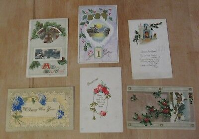 Nice Vintage Lot Of Six New Years Day Themed Postcards #7