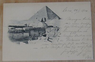 Vintage RPPC Postcard The Great Sphinx+Khafra's Pyramid, Giza, Egypt Posted 1900