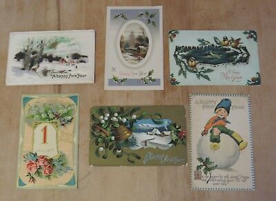 Nice Vintage Lot Of Six New Years Day Themed Postcards #6