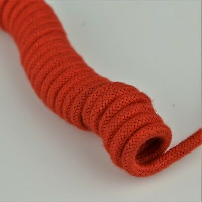 Curly Cloth Covered Vintage Telephone Handset Cord - Spaded - Pekin Red - 30006