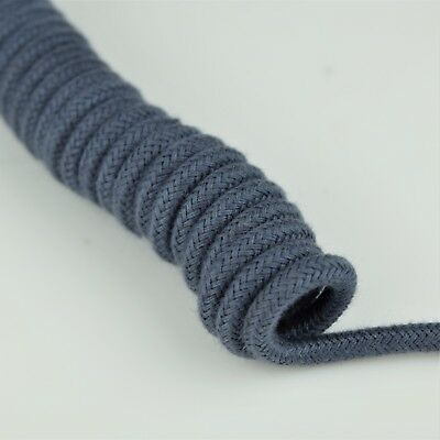 Curly Cloth Covered Vintage Telephone Handset Cord - Spaded - Teal / Med Blue
