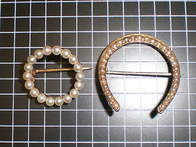 Two 14kt vintage Pearl pins