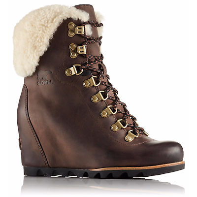 93444fa431ba Sorel Conquest Wedge Waterproof Shearling Tobacco Black Women s Bootie Shoes