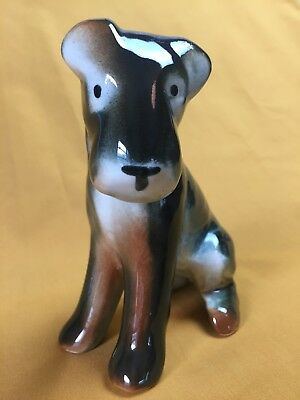 """Vintage Porcelain AIREDALE Terrier Figurine Seated Dog Puppy 5.25"""" Great Colors!"""