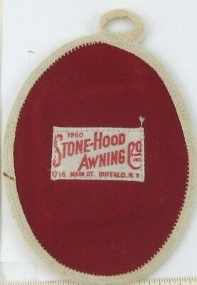 "Buffalo NY Advertising Potholder Stone Hood Awning Co 1960 4.75"" X 6.25"" Vintage"