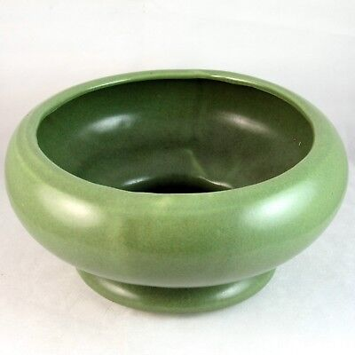 Planter Round Bowl American Bisque Pottery Footed Semi Matte Green Glaze 1940s