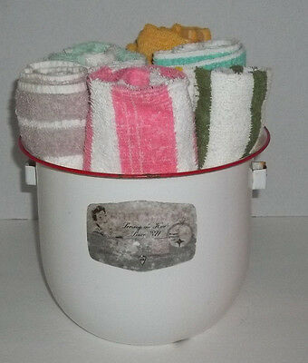Vintage Enamelware White With Red Trim Chamber Pot W/Label  & 6 Vtg Bath Towels