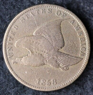 1858 Flying Eagle Large Letters Cent / Circulated Grade Good / Very Good Coin P1