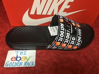 94587de8eaf1 Nike Benassi JDI Just Do It Print Slide Black Multi Color 631261-016 Size 8
