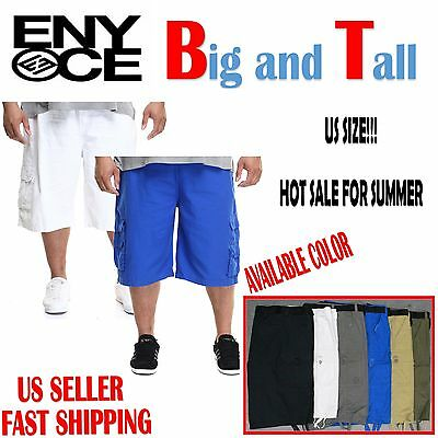 Men Big and Tall enyce Cargo Shorts With Belt Cotton Twill Colors Size 44~52