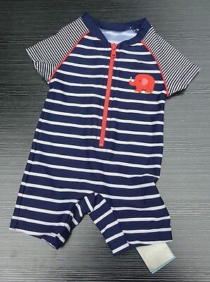 Next Baby Navy Stripe Swim Suit Upf 50+ With Tag Age 3-6 Months