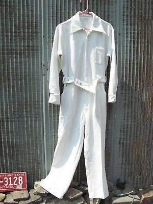 Le VOY's Vintage 1970s WHITE Polyester JUMPSUIT VLV Elvis PARTY Disco  UNISEX 44