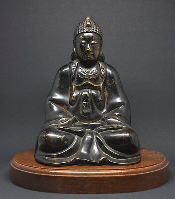 Antique Chinese / Japanese Cast Metal Buddha Figurine ~7.25 inches tall~ Signed