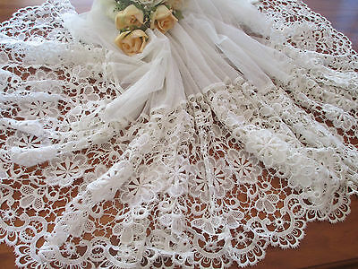 Vintage Tulle Net Curtain Featuring Exquisite European Heavy Lace
