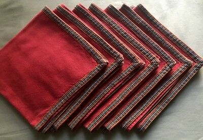 Vintage French Red Linen Dinner Napkins Contry Style Woven Ribbon Hem 19 1/4""