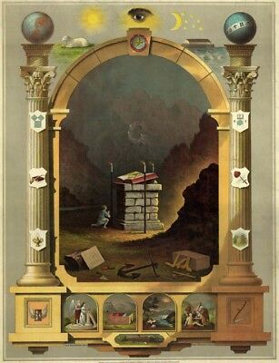 Rare Masonic Chart Art Print Poster ring Entered Fellowcraft Master Freemasonry