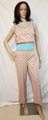 Vintage Women's 2-piece Outfit Tan & Blue Top with Cropped Pants Vtg Size 10, Sm