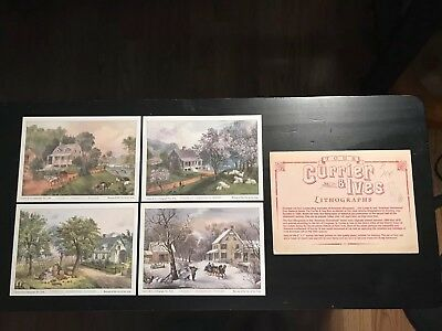 Currier and Ives  American Homestead Four Seasons Lithographs  5 x 7    Set of 4