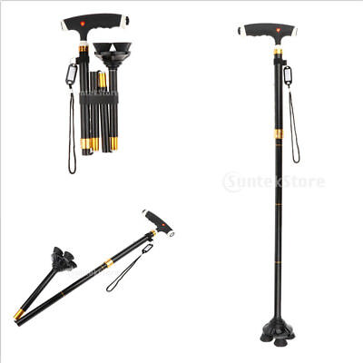 Adjustable Lightweight Easy Fold Aluminum Walking Sticks Canes Quad Tips