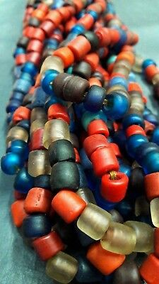 RARE Old Tubular Multi-color Mosaic Roman Glass Beaded Necklaces |Ancient Mosaic