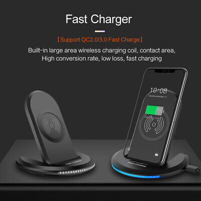 FDGAO Qi Wireless 10W Fast Charging Stand Dock Phone Charger For iPhone Samsung